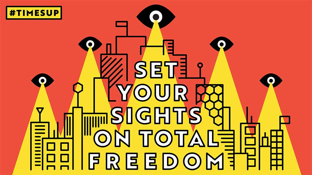 "Work by Jared Maire. ""Set Your Sights On Total Freedom was illustrated out of a desire to contribute to the Times Up movement. As a survivor, I wanted to visually explore ways to communicate the need for accountability and positive support systems."""