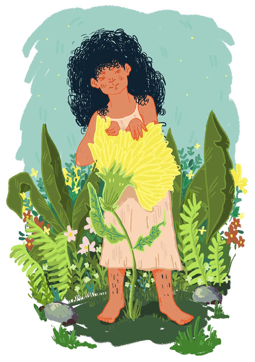 "Work by Carla Nunez-Hernandez. ""This series of illustrations depicts young women of color in positions of contemplation within a natural environment. My illustrations explore the beauty of childhood experiences by igniting conversations about identity and self-making within diasporic communities."""